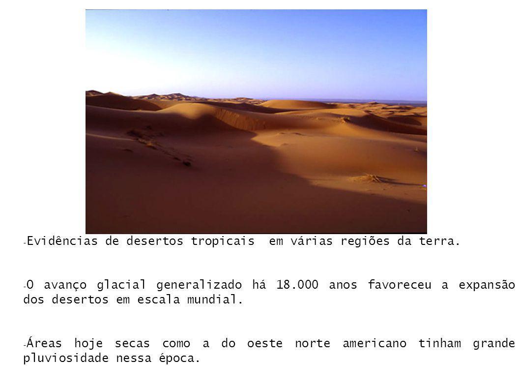 - Evidências de desertos tropicais em várias regiões da terra. - O avanço glacial generalizado há 18.000 anos favoreceu a expansão dos desertos em esc
