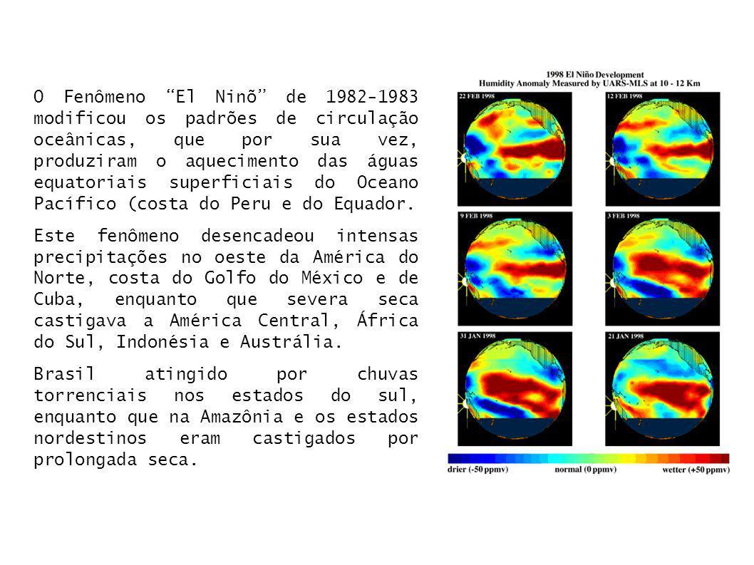 O Fenômeno El Ninõ de 1982-1983 modificou os padrões de circulação oceânicas, que por sua vez, produziram o aquecimento das águas equatoriais superfic