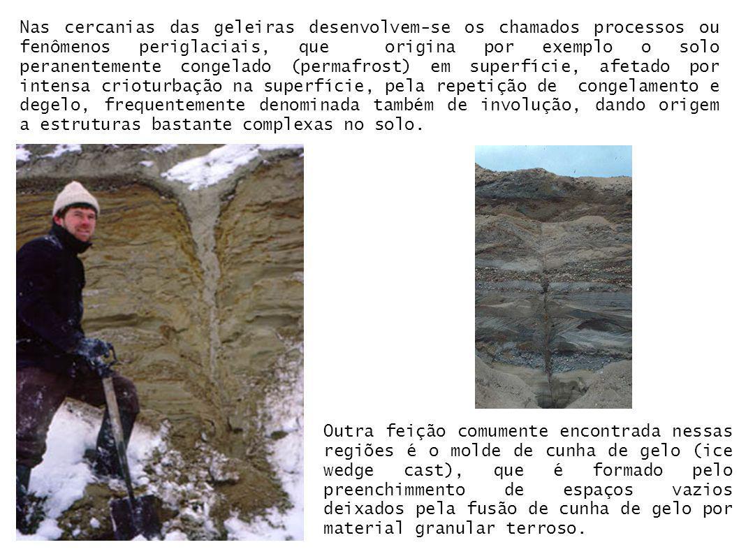 Nas cercanias das geleiras desenvolvem-se os chamados processos ou fenômenos periglaciais, que origina por exemplo o solo peranentemente congelado (pe