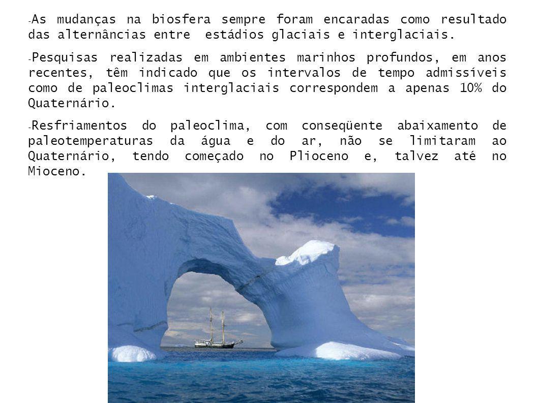 - As mudanças na biosfera sempre foram encaradas como resultado das alternâncias entre estádios glaciais e interglaciais. - Pesquisas realizadas em am