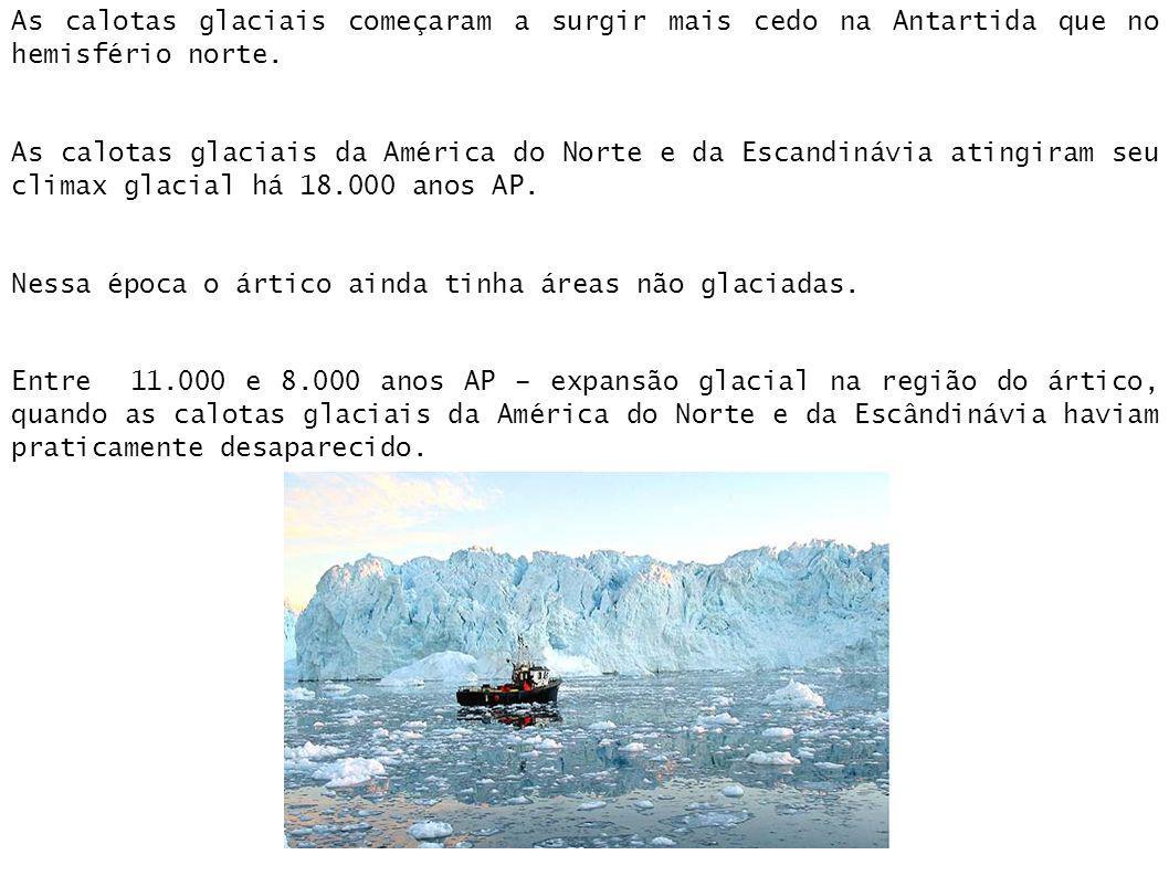 As calotas glaciais começaram a surgir mais cedo na Antartida que no hemisfério norte. As calotas glaciais da América do Norte e da Escandinávia ating