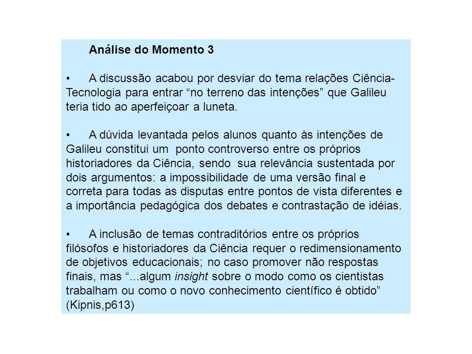 Análise do Momento 3 A discussão acabou por desviar do tema relações Ciência- Tecnologia para entrar no terreno das intenções que Galileu teria tido a