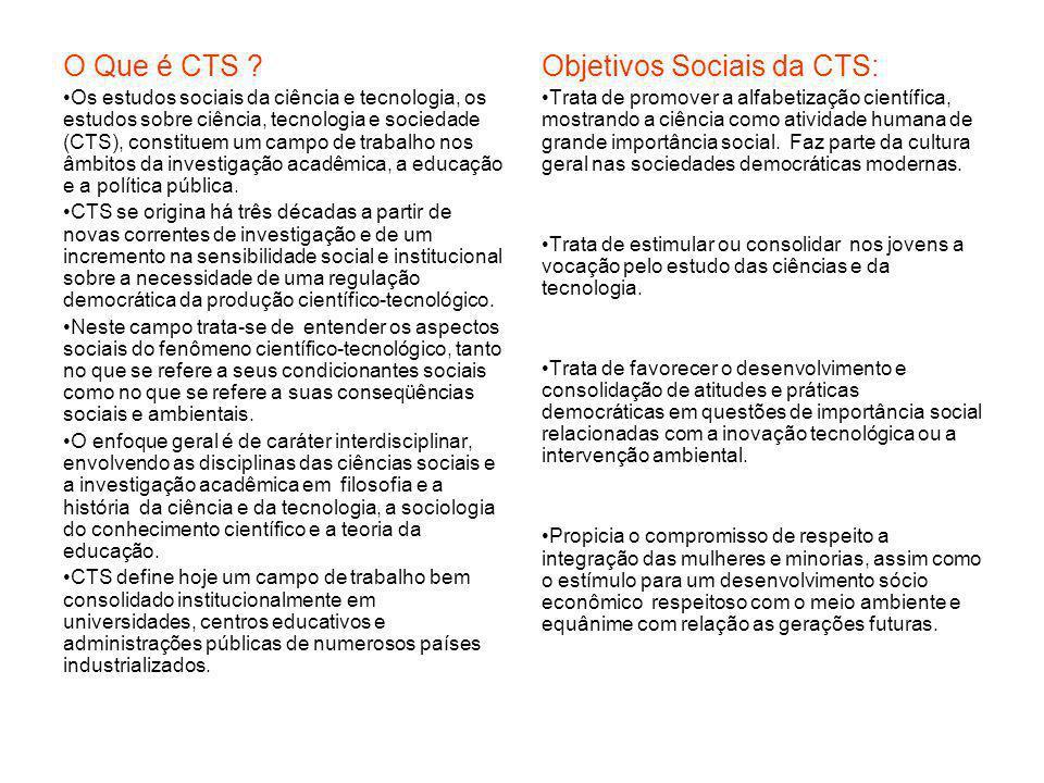 O Que é CTS ? Os estudos sociais da ciência e tecnologia, os estudos sobre ciência, tecnologia e sociedade (CTS), constituem um campo de trabalho nos