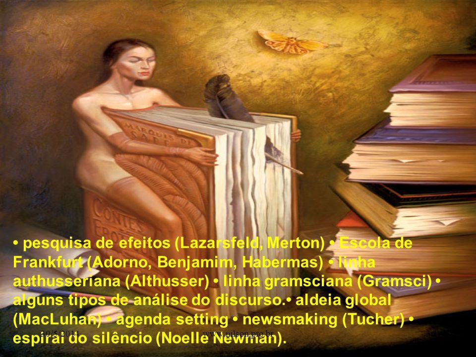 pesquisa de efeitos (Lazarsfeld, Merton) Escola de Frankfurt (Adorno, Benjamim, Habermas) linha authusseriana (Althusser) linha gramsciana (Gramsci) alguns tipos de análise do discurso.