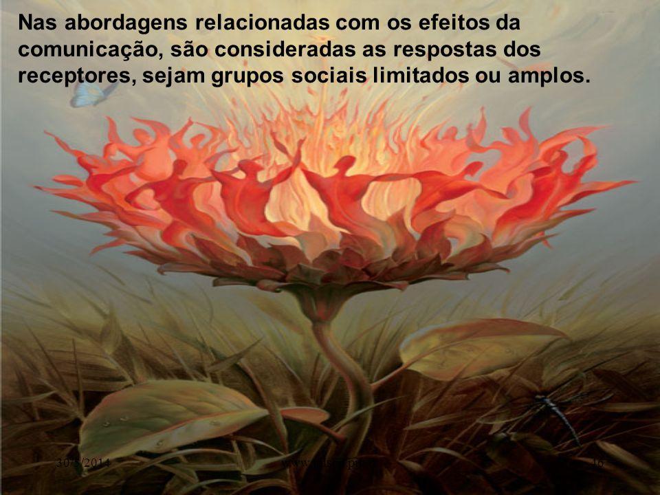 Nas abordagens relacionadas com os efeitos da comunicação, são consideradas as respostas dos receptores, sejam grupos sociais limitados ou amplos.