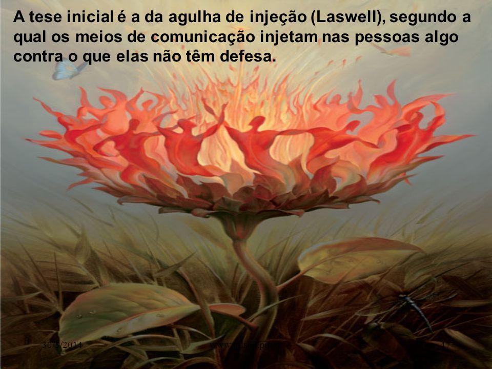 A tese inicial é a da agulha de injeção (Laswell), segundo a qual os meios de comunicação injetam nas pessoas algo contra o que elas não têm defesa.