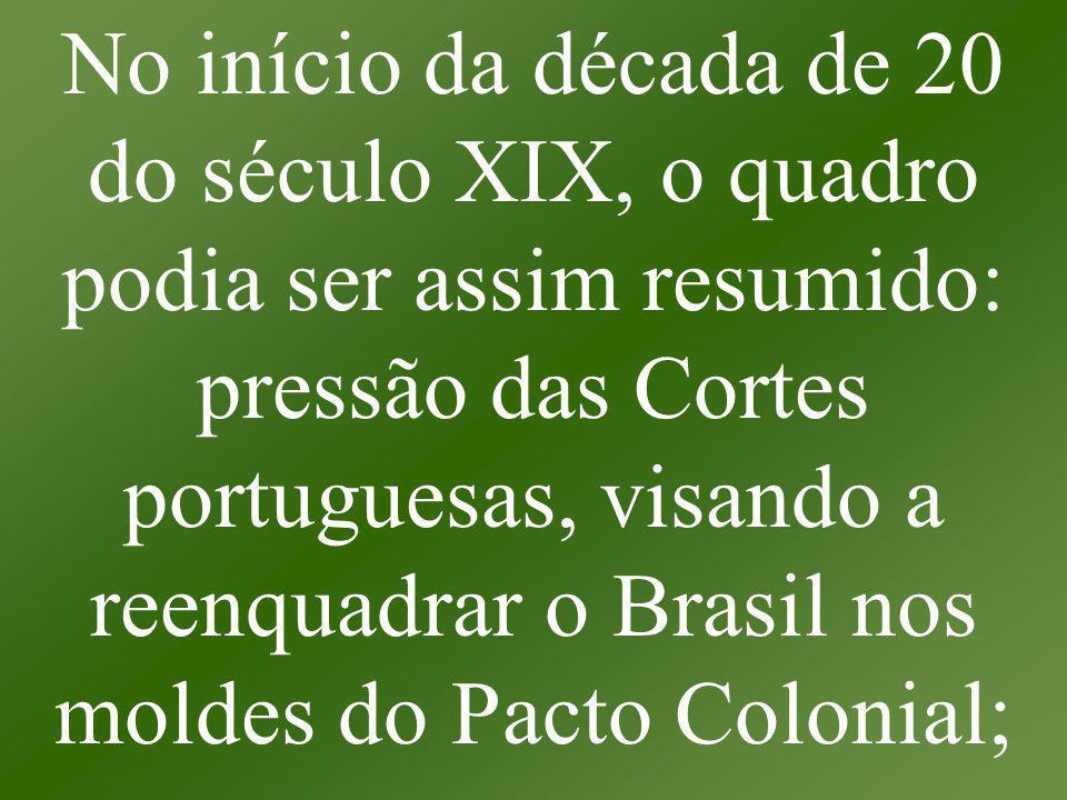 No início da década de 20 do século XIX, o quadro podia ser assim resumido: pressão das Cortes portuguesas, visando a reenquadrar o Brasil nos moldes