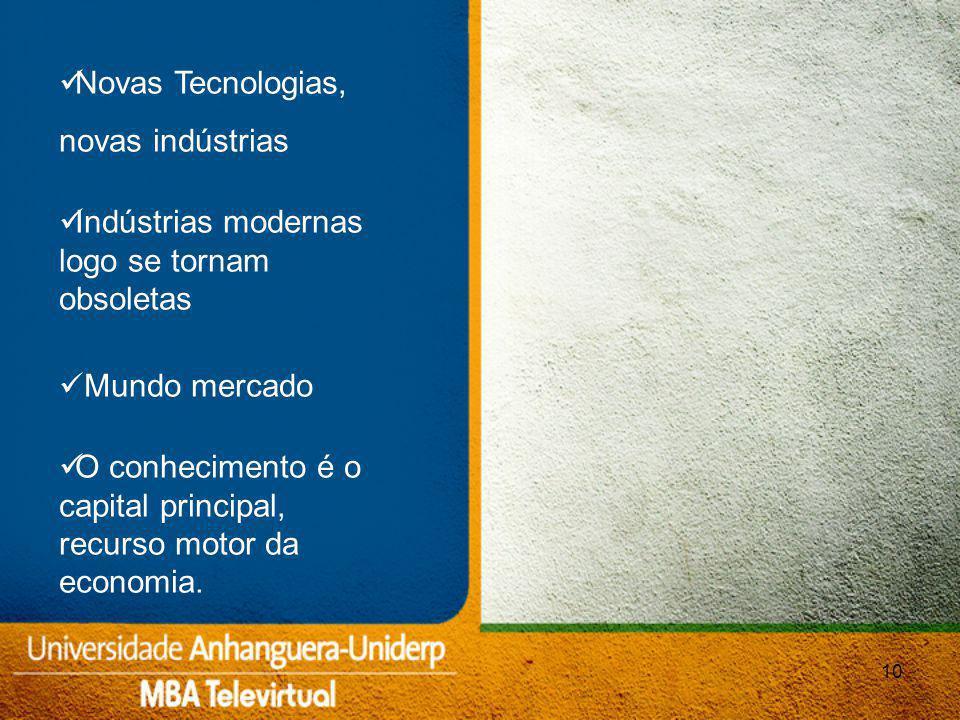 10 Novas Tecnologias, novas indústrias Indústrias modernas logo se tornam obsoletas Mundo mercado O conhecimento é o capital principal, recurso motor da economia.