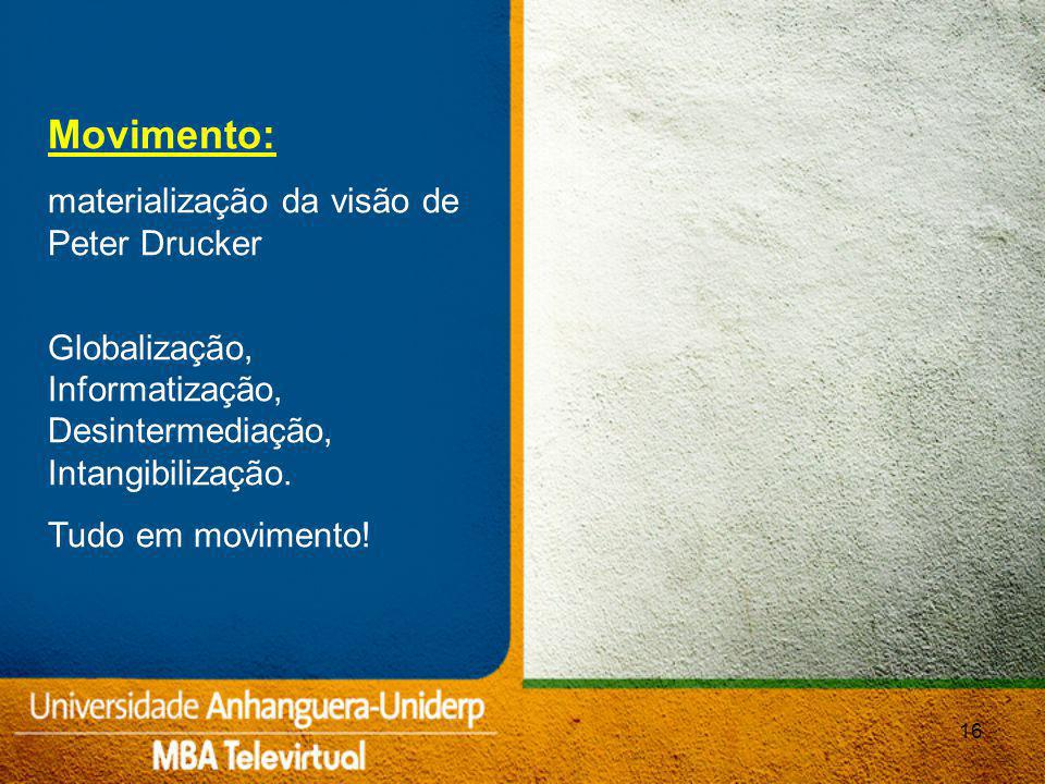 16 Movimento: materialização da visão de Peter Drucker Globalização, Informatização, Desintermediação, Intangibilização.