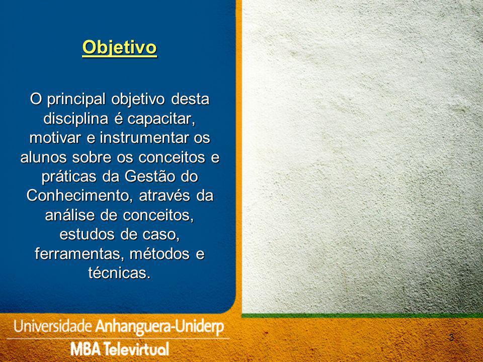Aula 1 Fundamentos de Gestão do Conhecimento (GC); Modelo Japonês de GC Aula 2 Capital Intelectual; Fatores promotores e barreiras à criação do conhecimento novo Aula 3 Ferramentas para a Gestão do Conhecimento: redes sociais, desenho de processos, BSC Aula 4 Gestão do Conhecimento no Brasil 4