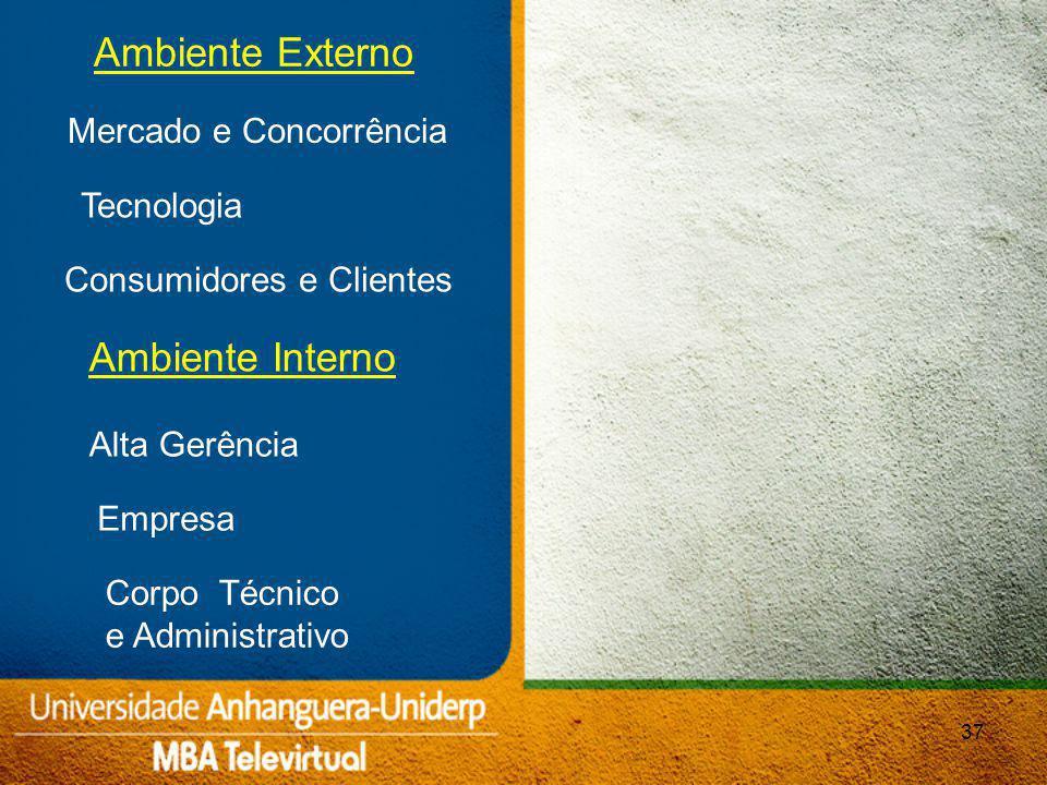 37 Mercado e Concorrência Ambiente Externo Tecnologia Consumidores e Clientes Ambiente Interno Alta Gerência Empresa Corpo Técnico e Administrativo