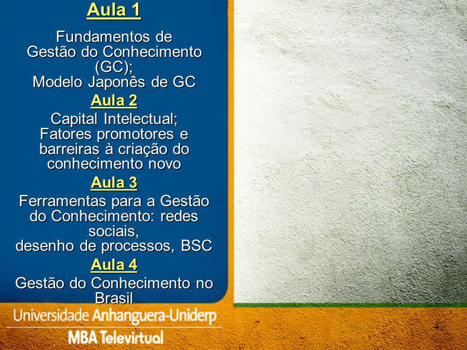 45 Educação Corporativa GESTÃO DO CONHECIMENTO Aprendizagem Organizacional Gestão de Competências Gestão do Capital intelectual Inteligência Empresarial