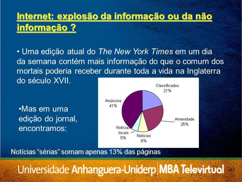 43 Internet: explosão da informação ou da não informação .