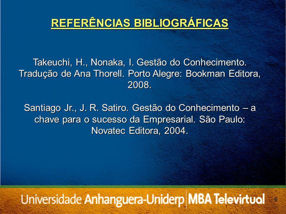 6 REFERÊNCIAS BIBLIOGRÁFICAS Takeuchi, H., Nonaka, I.