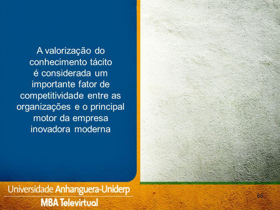 65 A valorização do conhecimento tácito é considerada um importante fator de competitividade entre as organizações e o principal motor da empresa inovadora moderna