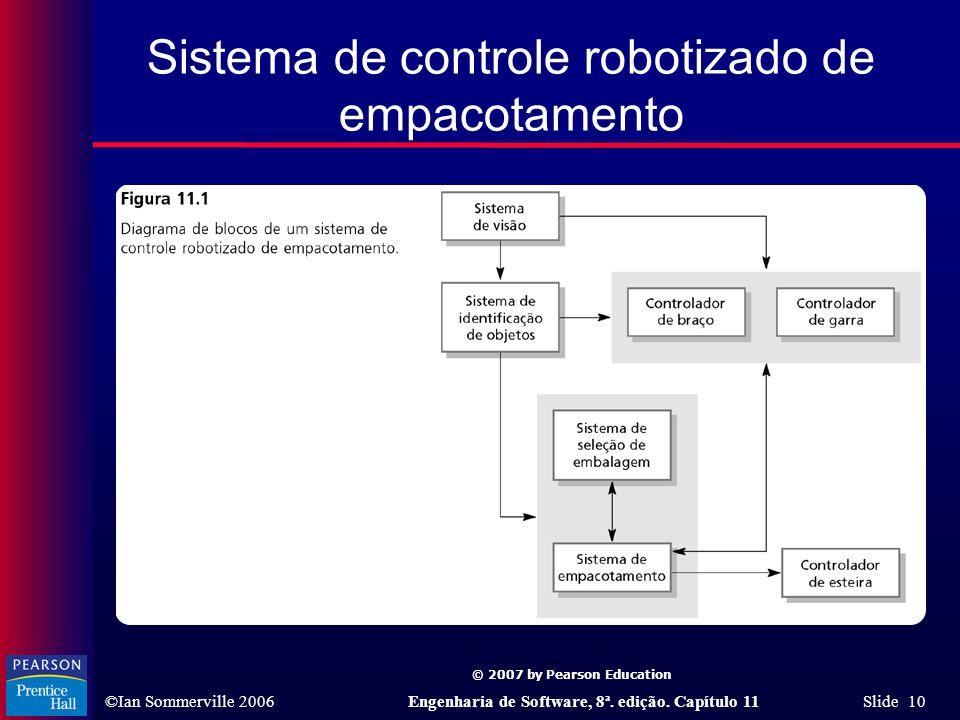 © 2007 by Pearson Education ©Ian Sommerville 2006Engenharia de Software, 8ª. edição. Capítulo 11 Slide 10 Sistema de controle robotizado de empacotame