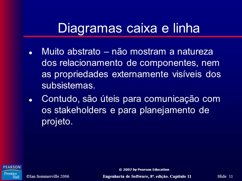 © 2007 by Pearson Education ©Ian Sommerville 2006Engenharia de Software, 8ª. edição. Capítulo 11 Slide 11 Diagramas caixa e linha l Muito abstrato – n
