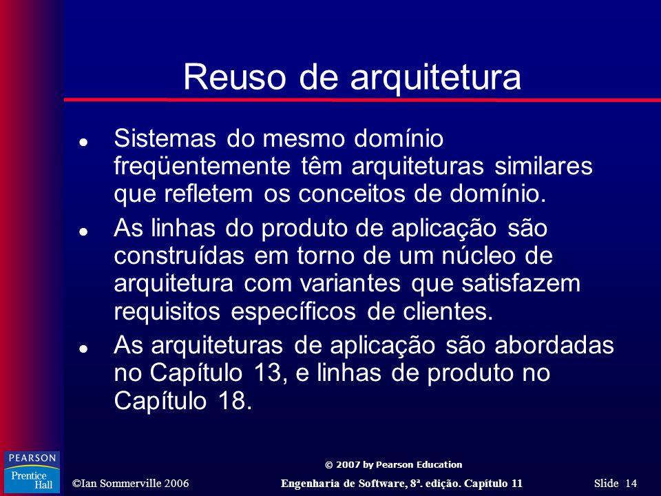 © 2007 by Pearson Education ©Ian Sommerville 2006Engenharia de Software, 8ª. edição. Capítulo 11 Slide 14 Reuso de arquitetura l Sistemas do mesmo dom
