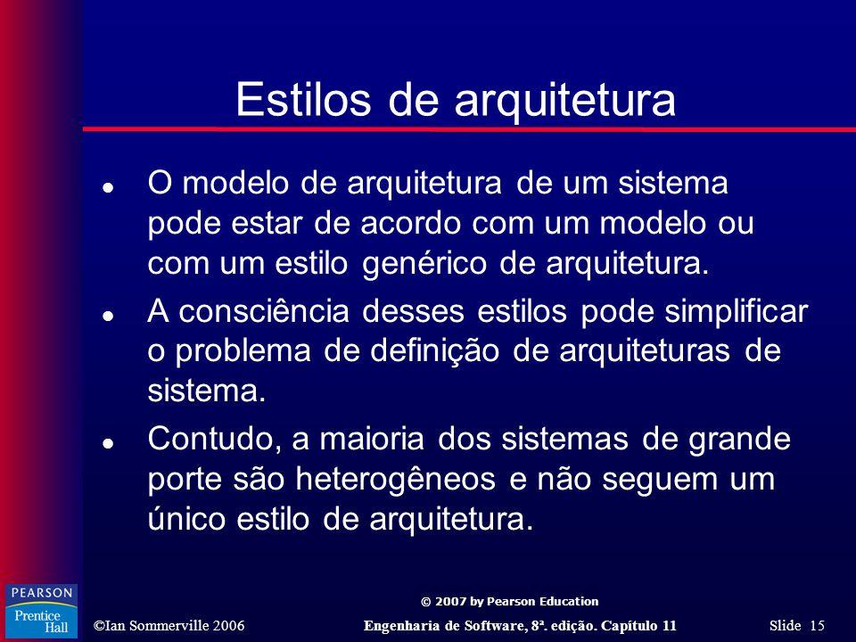 © 2007 by Pearson Education ©Ian Sommerville 2006Engenharia de Software, 8ª. edição. Capítulo 11 Slide 15 Estilos de arquitetura l O modelo de arquite
