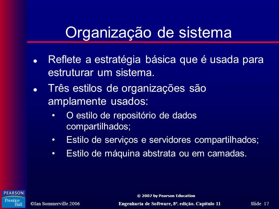 © 2007 by Pearson Education ©Ian Sommerville 2006Engenharia de Software, 8ª. edição. Capítulo 11 Slide 17 Organização de sistema l Reflete a estratégi