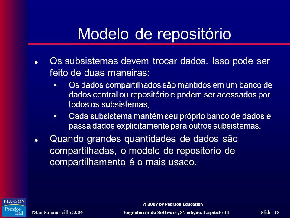 © 2007 by Pearson Education ©Ian Sommerville 2006Engenharia de Software, 8ª. edição. Capítulo 11 Slide 18 Modelo de repositório l Os subsistemas devem