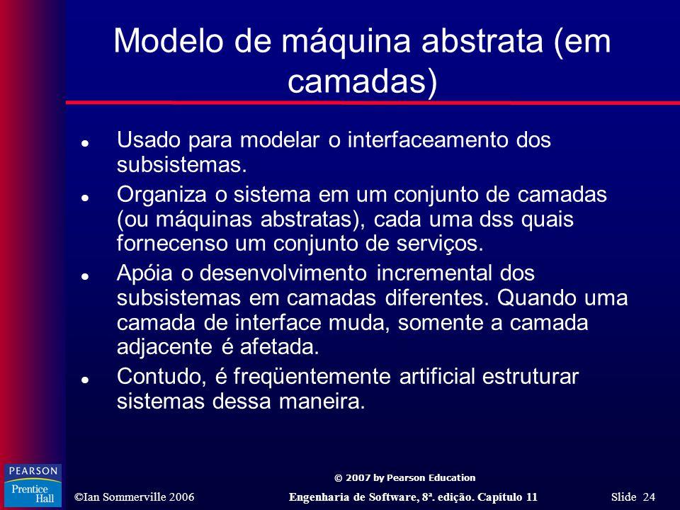 © 2007 by Pearson Education ©Ian Sommerville 2006Engenharia de Software, 8ª. edição. Capítulo 11 Slide 24 Modelo de máquina abstrata (em camadas) l Us