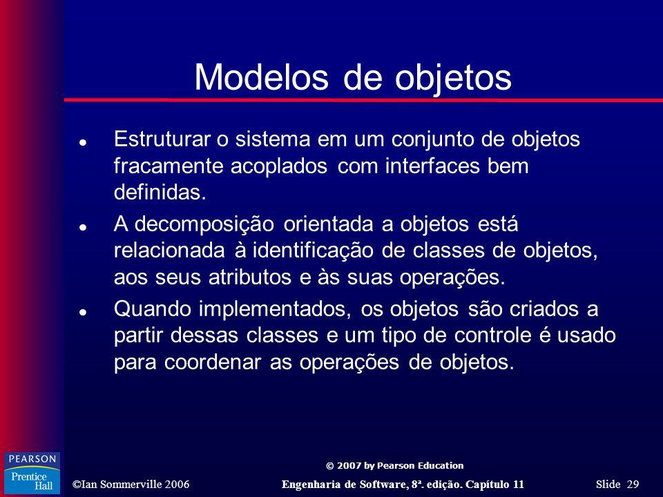 © 2007 by Pearson Education ©Ian Sommerville 2006Engenharia de Software, 8ª. edição. Capítulo 11 Slide 29 Modelos de objetos l Estruturar o sistema em