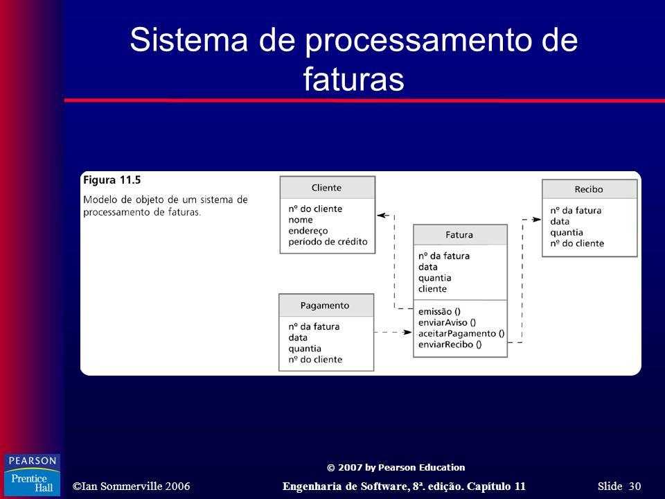 © 2007 by Pearson Education ©Ian Sommerville 2006Engenharia de Software, 8ª. edição. Capítulo 11 Slide 30 Sistema de processamento de faturas
