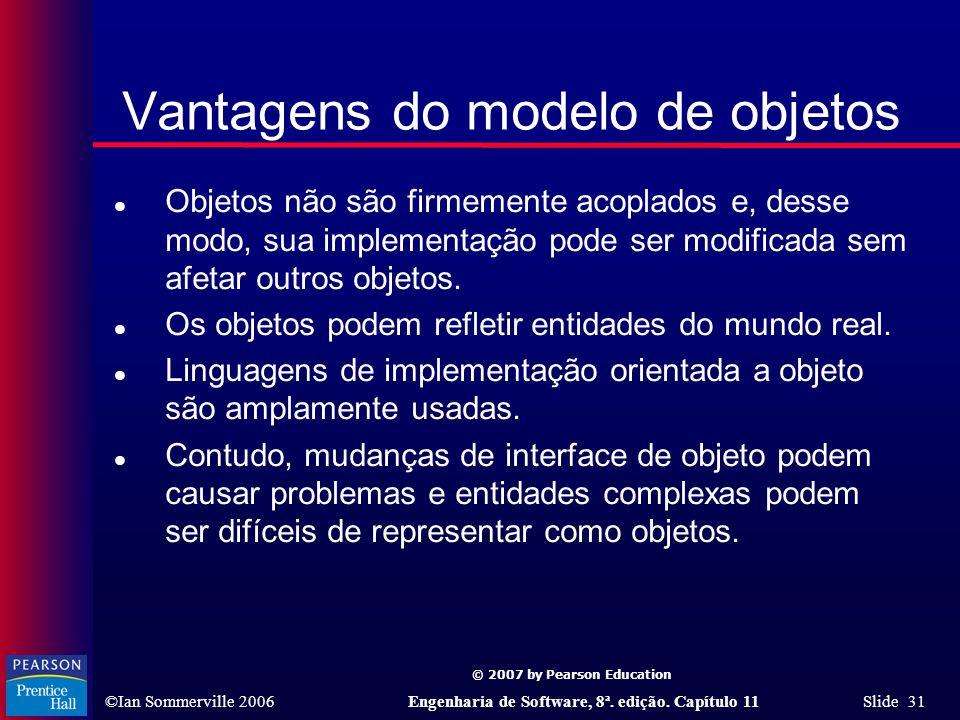 © 2007 by Pearson Education ©Ian Sommerville 2006Engenharia de Software, 8ª. edição. Capítulo 11 Slide 31 Vantagens do modelo de objetos l Objetos não