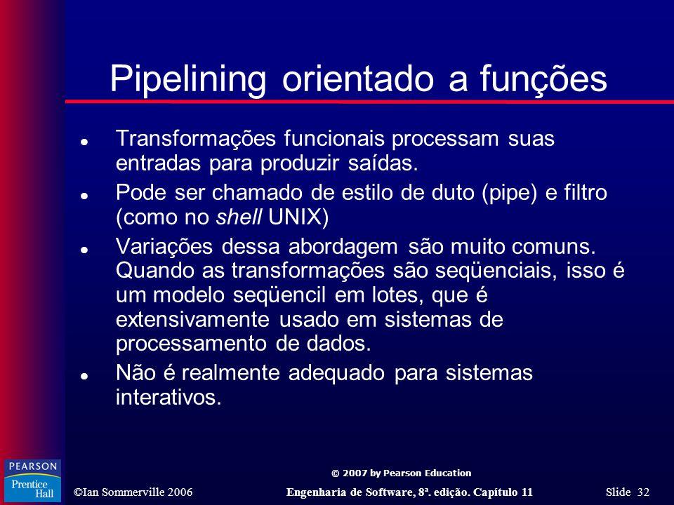 © 2007 by Pearson Education ©Ian Sommerville 2006Engenharia de Software, 8ª. edição. Capítulo 11 Slide 32 Pipelining orientado a funções l Transformaç