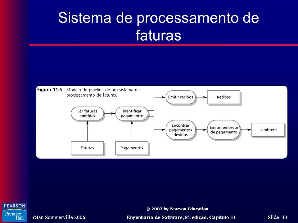 © 2007 by Pearson Education ©Ian Sommerville 2006Engenharia de Software, 8ª. edição. Capítulo 11 Slide 33 Sistema de processamento de faturas