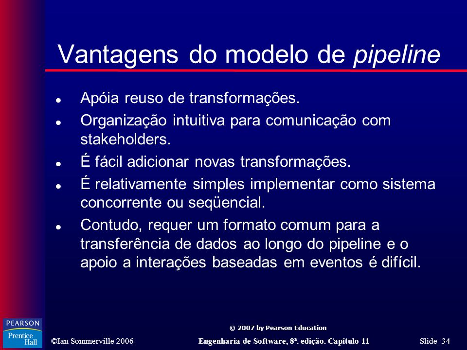 © 2007 by Pearson Education ©Ian Sommerville 2006Engenharia de Software, 8ª. edição. Capítulo 11 Slide 34 Vantagens do modelo de pipeline l Apóia reus