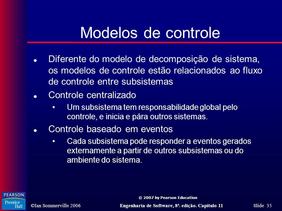 © 2007 by Pearson Education ©Ian Sommerville 2006Engenharia de Software, 8ª. edição. Capítulo 11 Slide 35 Modelos de controle l Diferente do modelo de
