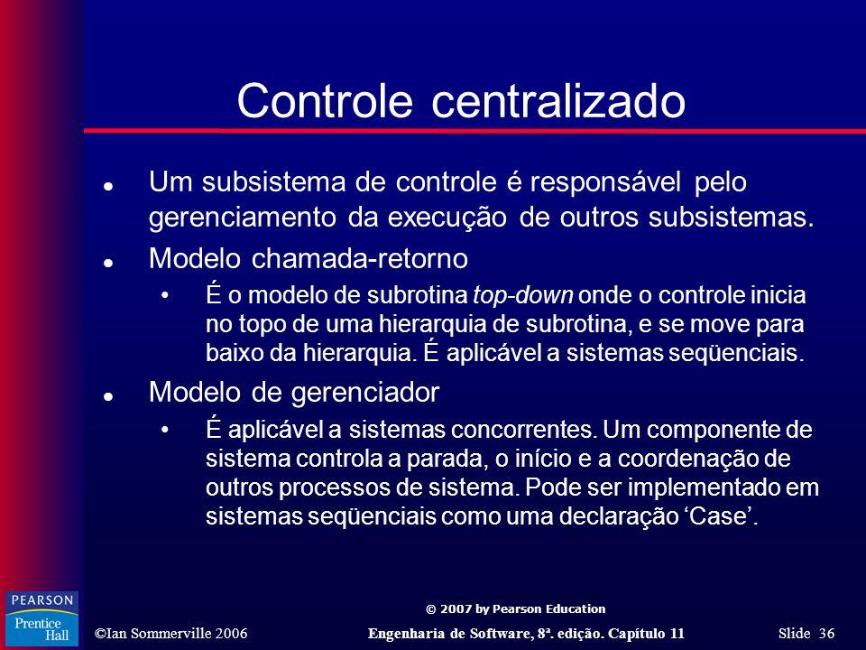 © 2007 by Pearson Education ©Ian Sommerville 2006Engenharia de Software, 8ª. edição. Capítulo 11 Slide 36 Controle centralizado l Um subsistema de con