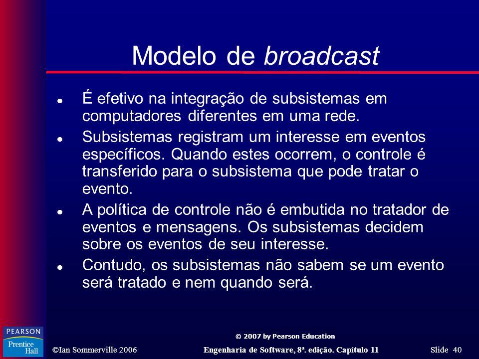 © 2007 by Pearson Education ©Ian Sommerville 2006Engenharia de Software, 8ª. edição. Capítulo 11 Slide 40 Modelo de broadcast l É efetivo na integraçã