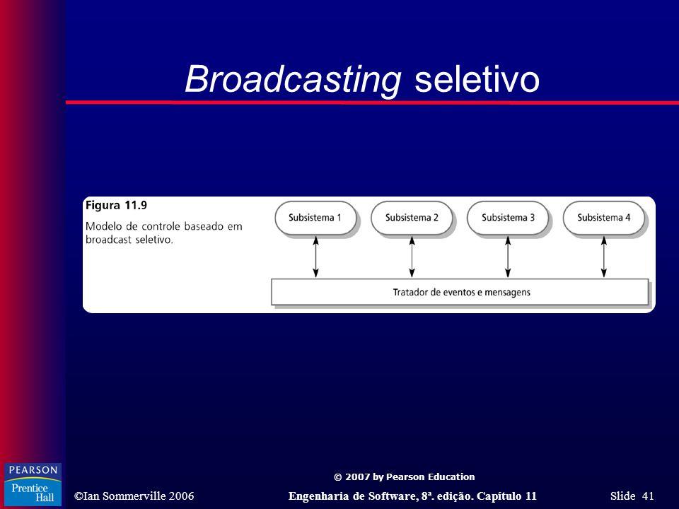 © 2007 by Pearson Education ©Ian Sommerville 2006Engenharia de Software, 8ª. edição. Capítulo 11 Slide 41 Broadcasting seletivo