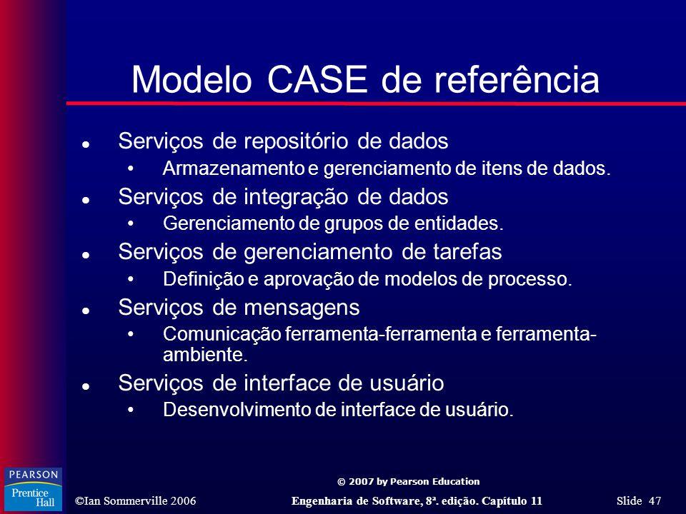 © 2007 by Pearson Education ©Ian Sommerville 2006Engenharia de Software, 8ª. edição. Capítulo 11 Slide 47 Modelo CASE de referência l Serviços de repo