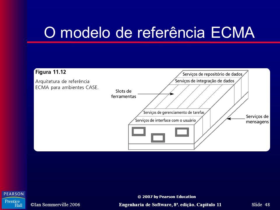 © 2007 by Pearson Education ©Ian Sommerville 2006Engenharia de Software, 8ª. edição. Capítulo 11 Slide 48 O modelo de referência ECMA