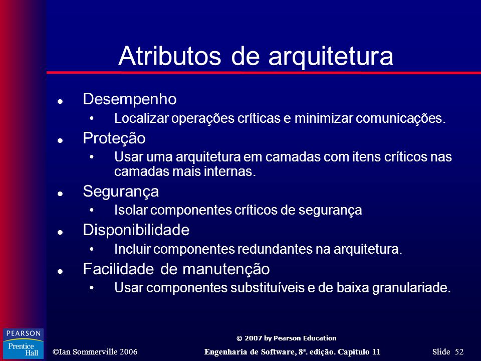 © 2007 by Pearson Education ©Ian Sommerville 2006Engenharia de Software, 8ª. edição. Capítulo 11 Slide 52 Atributos de arquitetura l Desempenho Locali