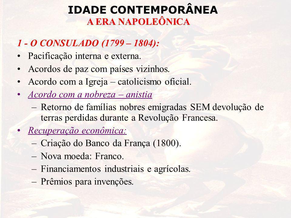 IDADE CONTEMPORÂNEA A ERA NAPOLEÔNICA 1 - O CONSULADO (1799 – 1804): Pacificação interna e externa.