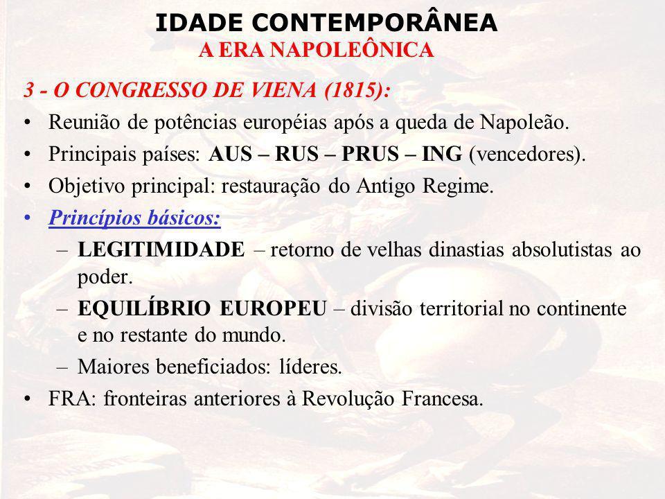 IDADE CONTEMPORÂNEA A ERA NAPOLEÔNICA 3 - O CONGRESSO DE VIENA (1815): Reunião de potências européias após a queda de Napoleão. Principais países: AUS