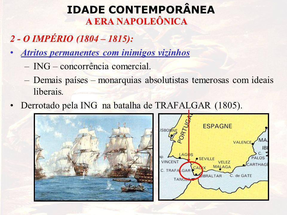 IDADE CONTEMPORÂNEA A ERA NAPOLEÔNICA 2 - O IMPÉRIO (1804 – 1815): Atritos permanentes com inimigos vizinhos –ING – concorrência comercial. –Demais pa