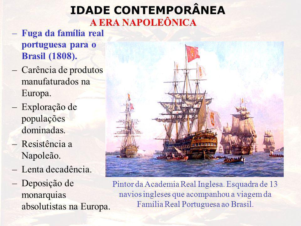 IDADE CONTEMPORÂNEA A ERA NAPOLEÔNICA –Fuga da família real portuguesa para o Brasil (1808). –Carência de produtos manufaturados na Europa. –Exploraçã