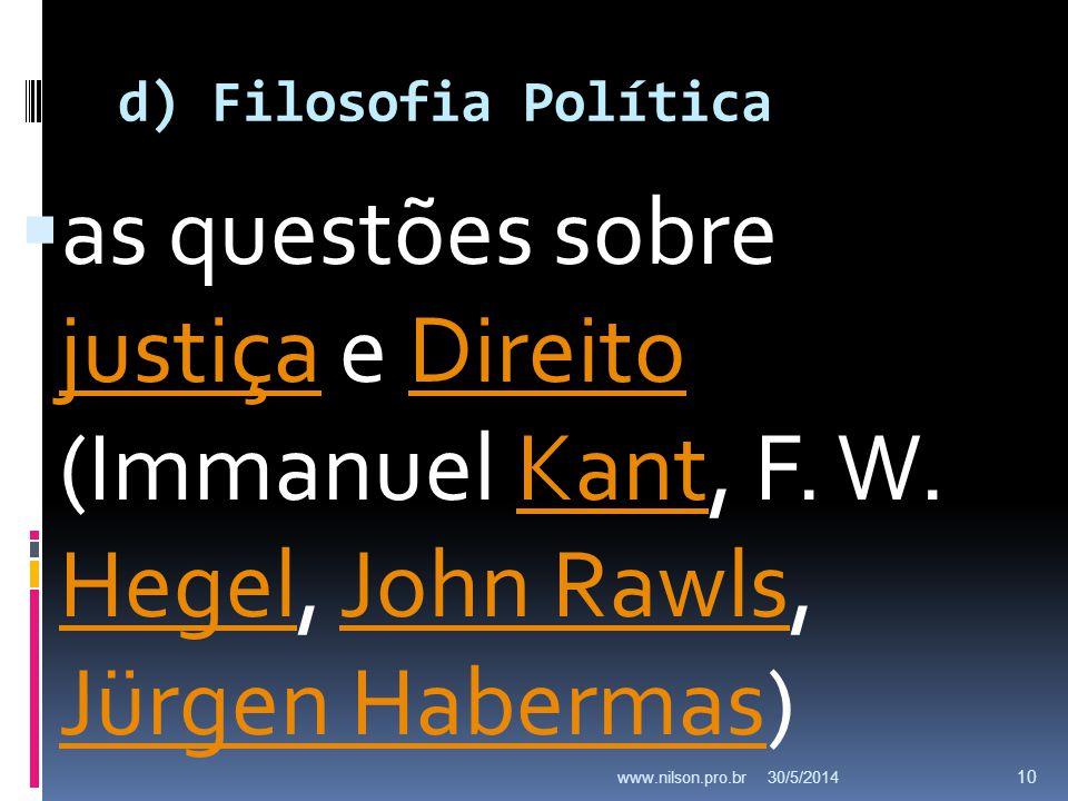 d) Filosofia Política as questões sobre justiça e Direito (Immanuel Kant, F. W. Hegel, John Rawls, Jürgen Habermas) justiçaDireitoKant HegelJohn Rawls
