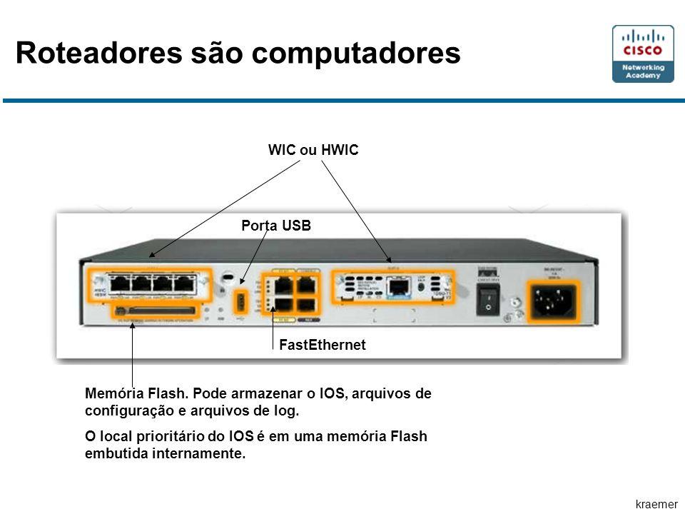 kraemer Roteadores são computadores WIC ou HWIC Memória Flash. Pode armazenar o IOS, arquivos de configuração e arquivos de log. O local prioritário d