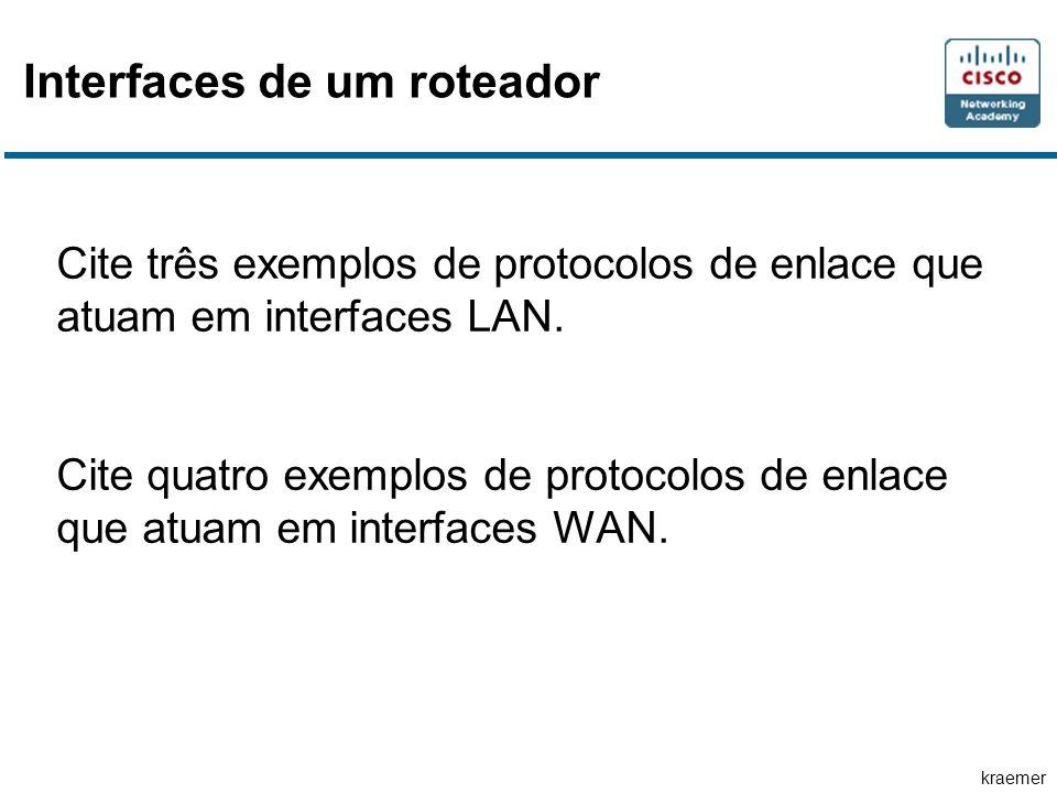 kraemer Interfaces de um roteador Cite três exemplos de protocolos de enlace que atuam em interfaces LAN. Cite quatro exemplos de protocolos de enlace