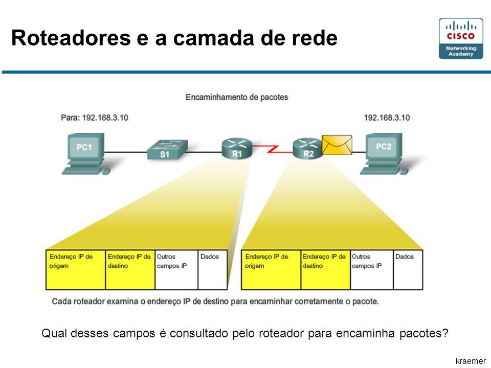 kraemer Roteadores e a camada de rede Qual desses campos é consultado pelo roteador para encaminha pacotes?