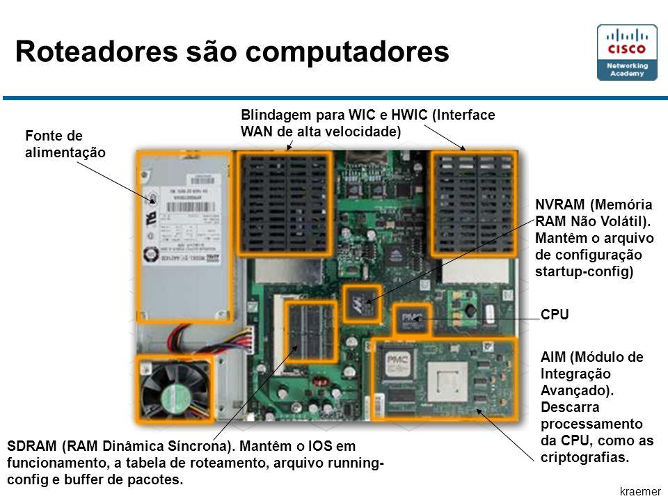 kraemer Roteadores são computadores Fonte de alimentação Blindagem para WIC e HWIC (Interface WAN de alta velocidade) SDRAM (RAM Dinâmica Síncrona). M