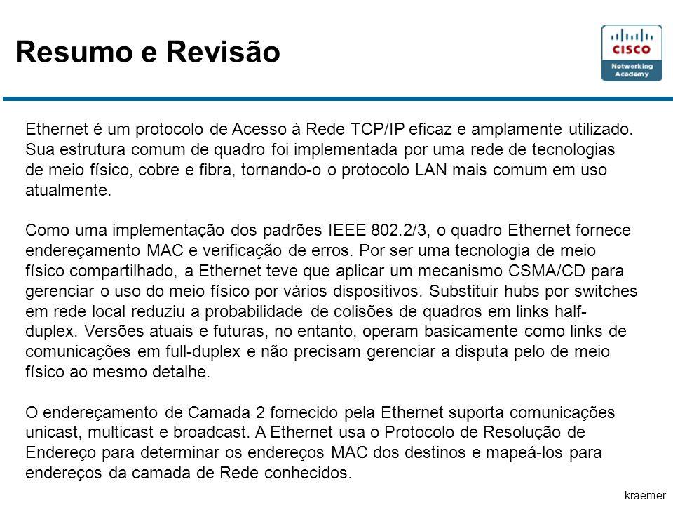 kraemer Resumo e Revisão Ethernet é um protocolo de Acesso à Rede TCP/IP eficaz e amplamente utilizado. Sua estrutura comum de quadro foi implementada