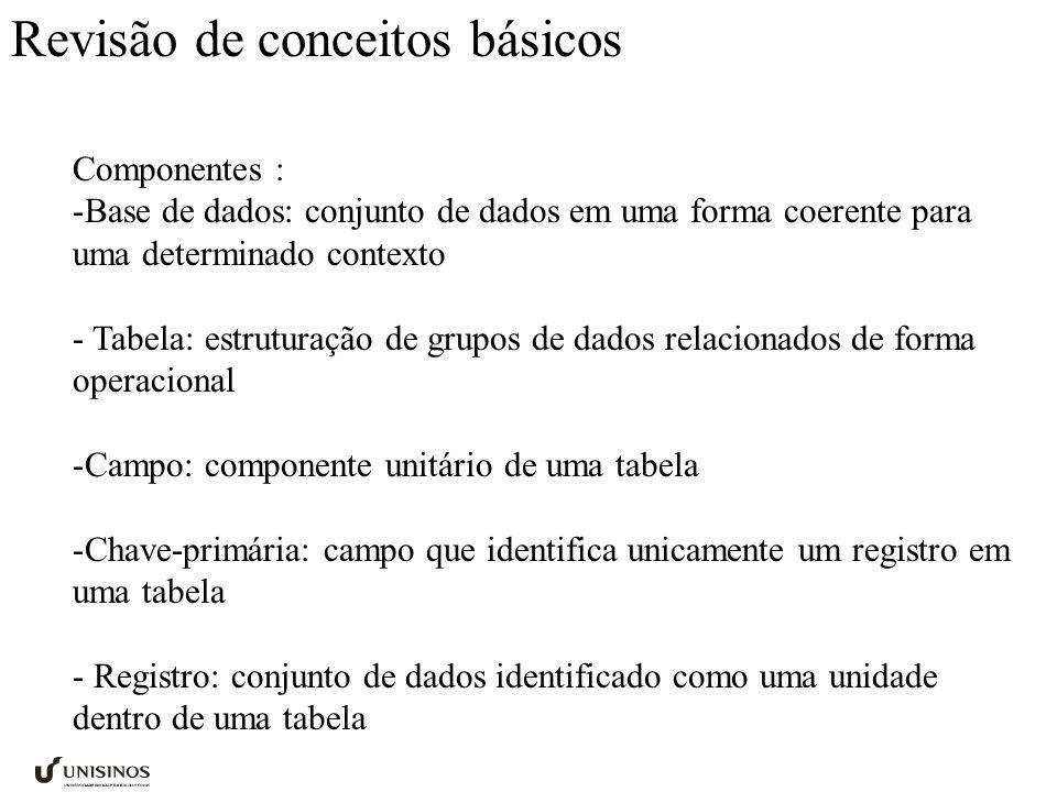 Revisão de conceitos básicos Componentes : -Base de dados: conjunto de dados em uma forma coerente para uma determinado contexto - Tabela: estruturaçã